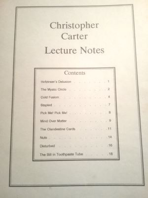 Christopher Carter Lecture Notes 1990